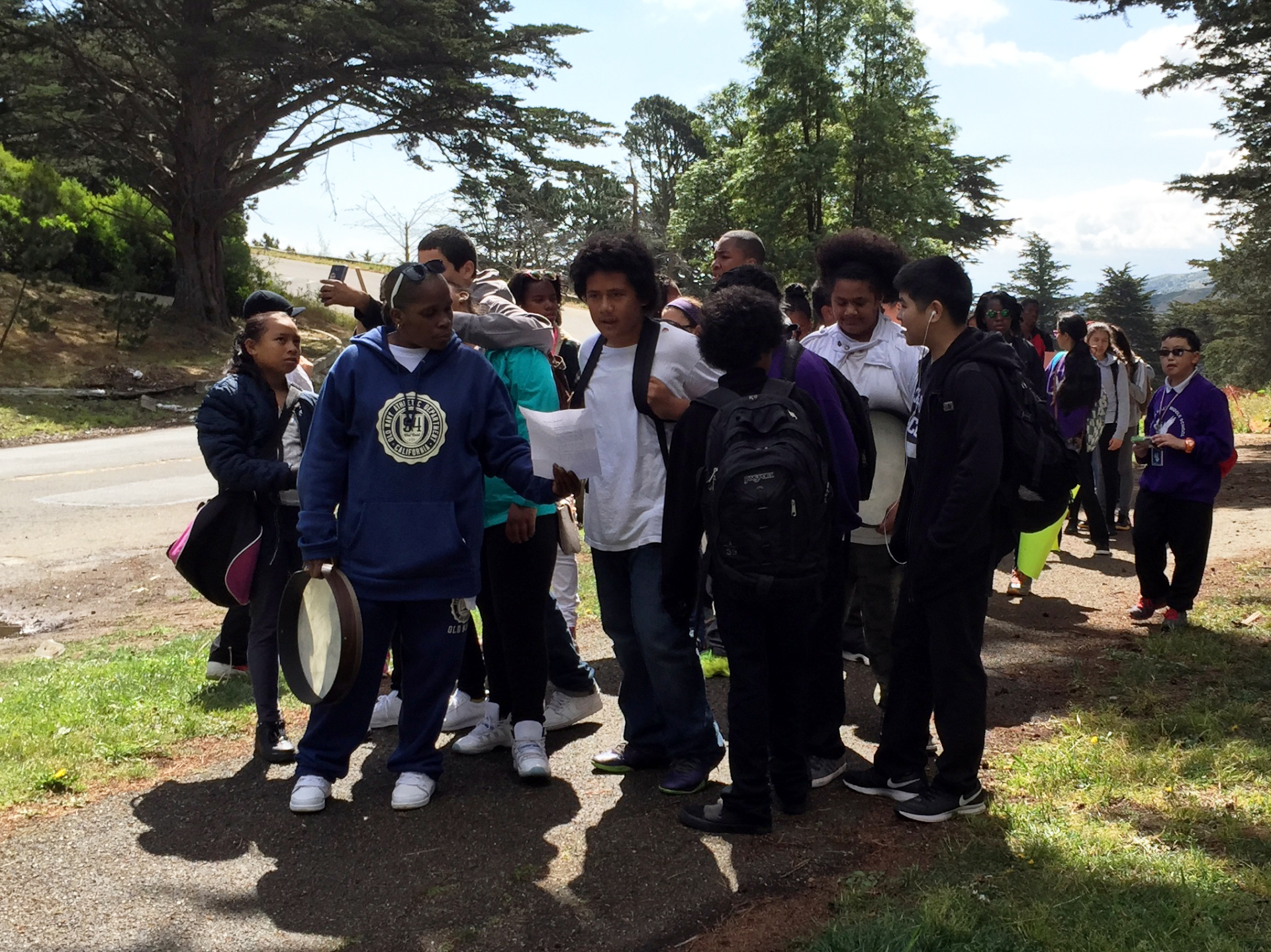 Visitacion Valley Middle School students march from their school to June Jordan High School on April 8.