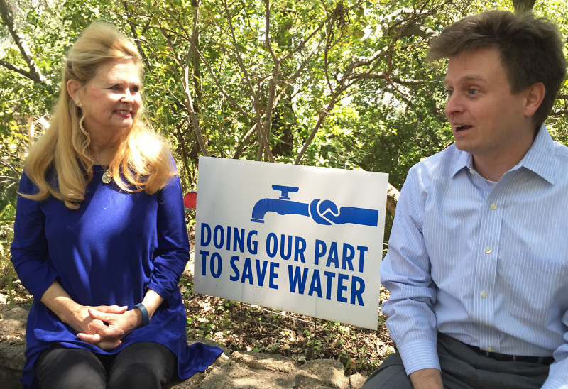 Debbie Mendelson (L) and her son Jason have become the lead proponents of water conservation in Woodside, a town that so far isn't doing its part to save water.