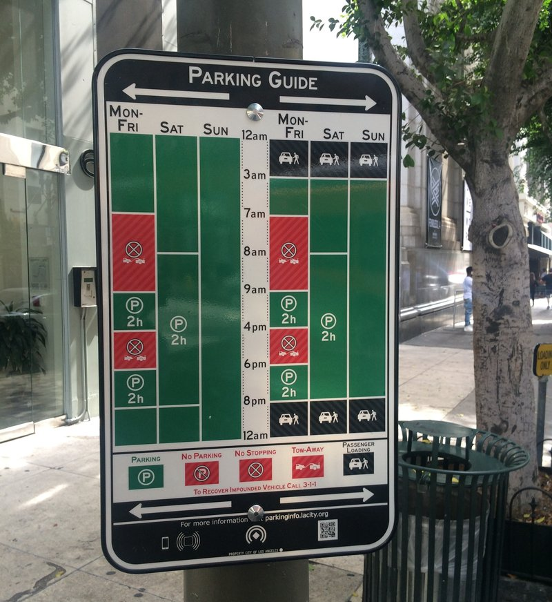 The city of Los Angeles is trying out 100 of these new parking signs for six months. They're supposed to help streamline the current system.