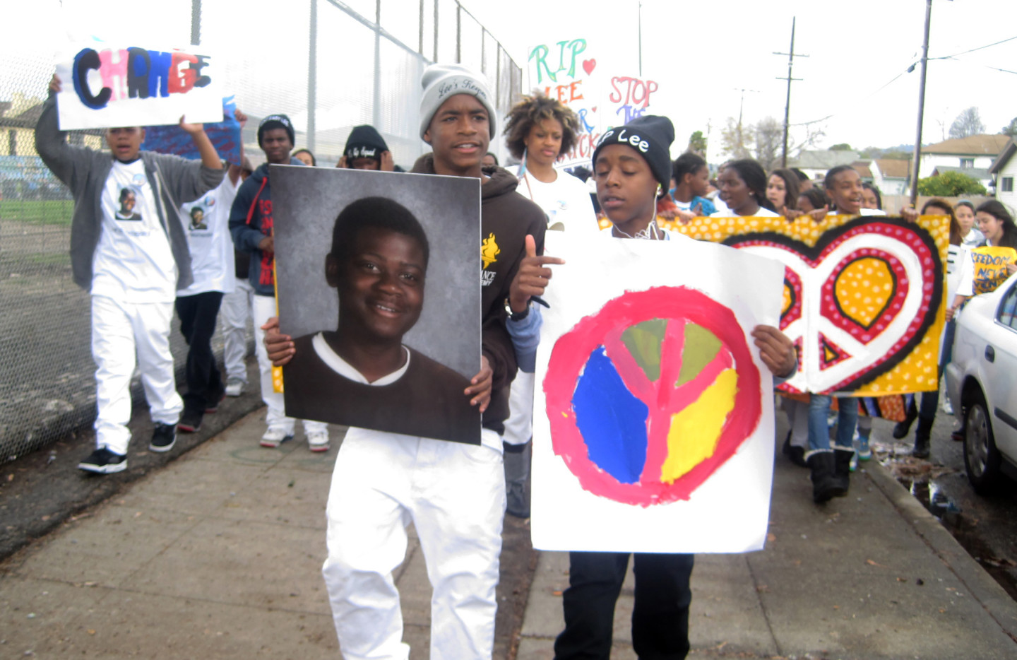 February 2014-- Students of Alliance Academy, including Diamond Allen (far left), marched to remember classmate Lee Weathersby III, who was shot and killed in Oakland. (Zaidee Stavely/KQED)