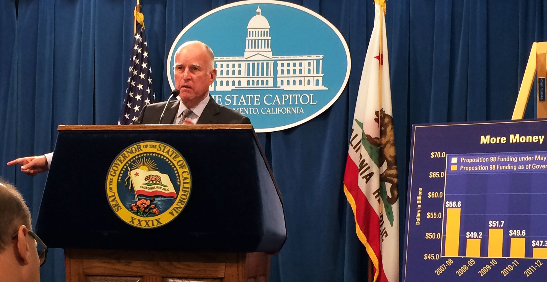 Gov. Jerry Brown presents his revised state budget on May 14, 2015 at the state Capitol.