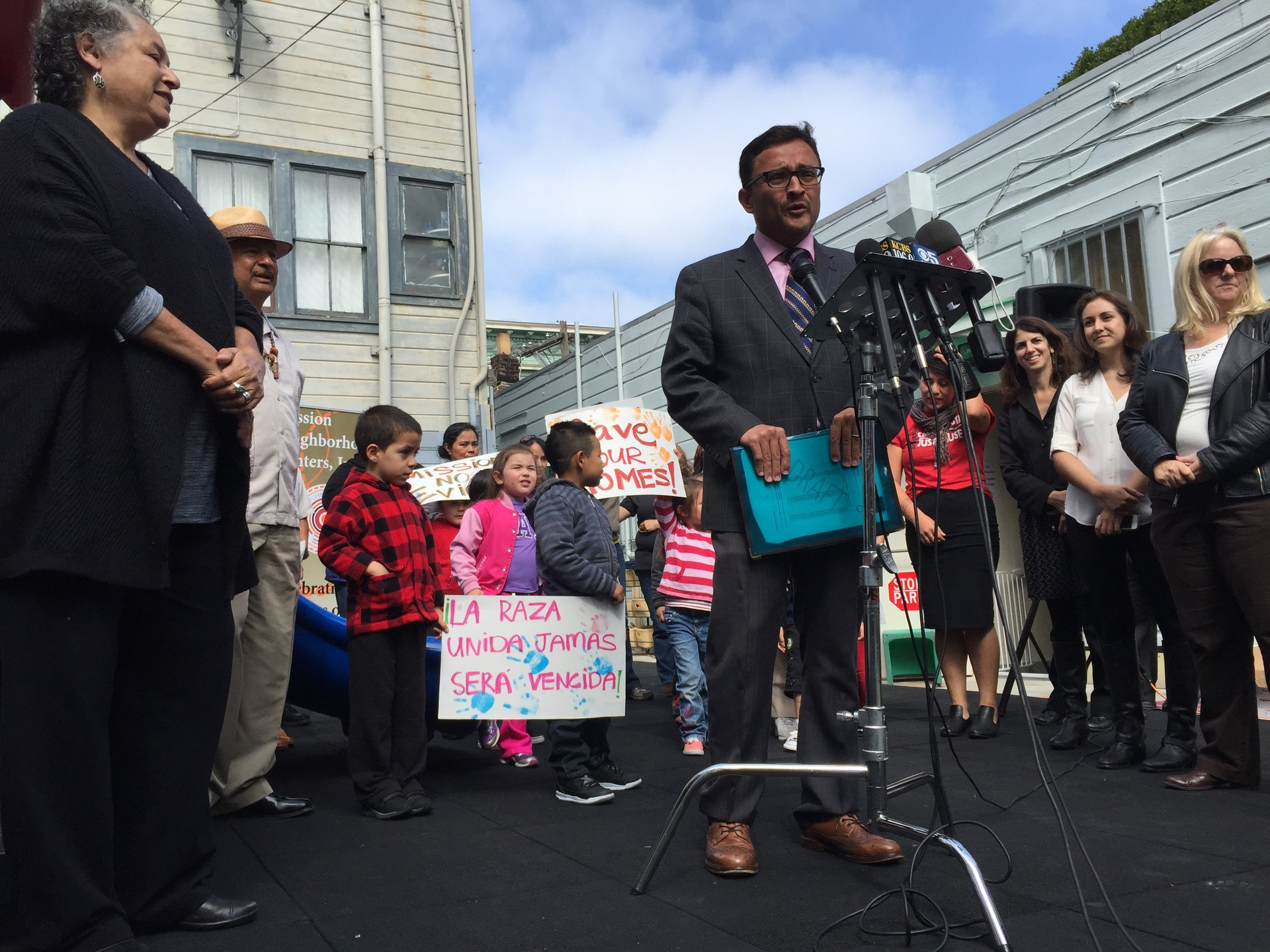 San Francisco Supervisor David Campos, outside the Mission Neighborhood Center, unveils a proposal to halt market-rate housing developments in the city's Mission District for two years.