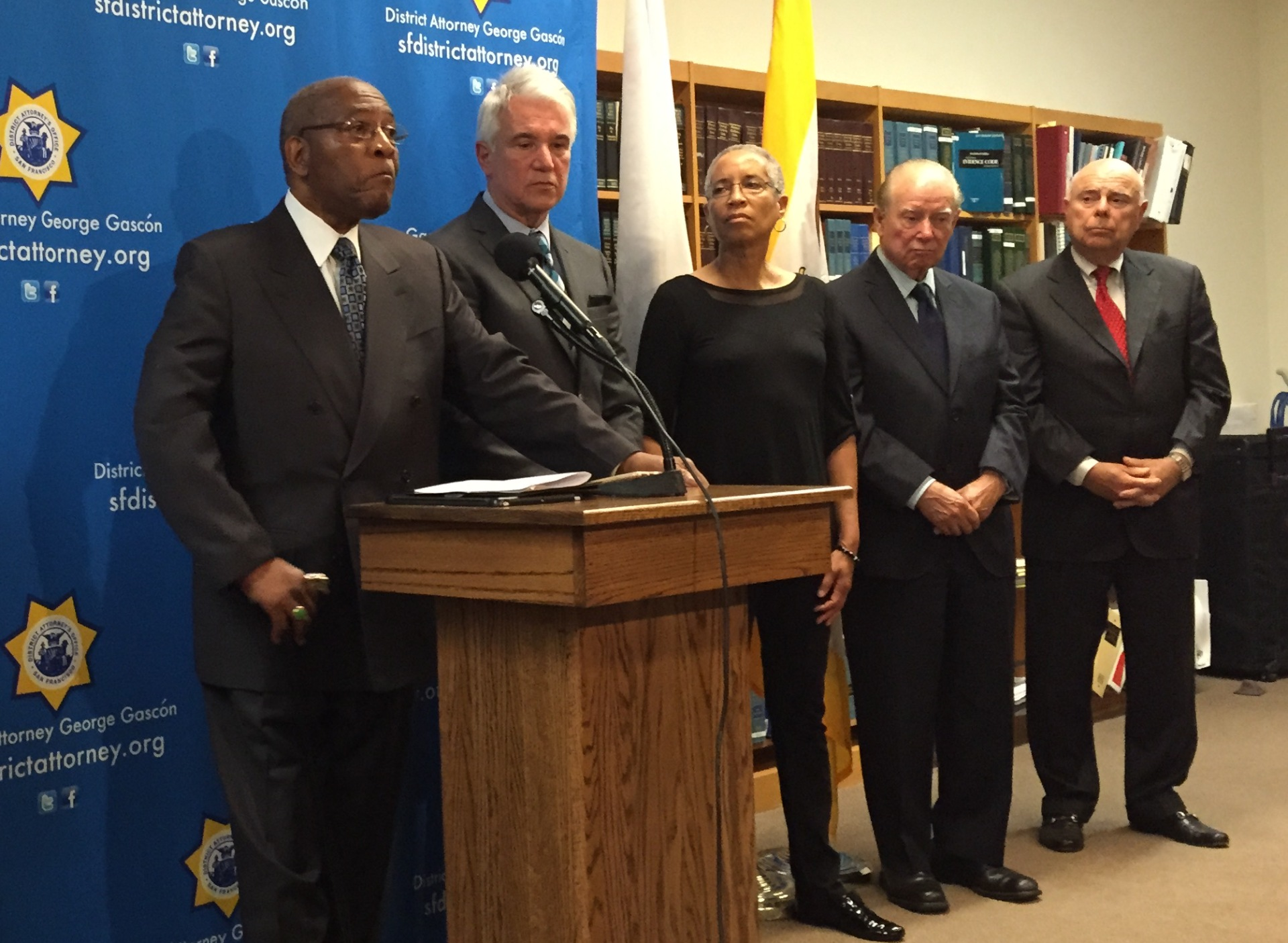 The Rev. Amos Brown speaks about the probe into racist text messages sent by current and former SFPD officers with DA George Gascón and retired judges LaDoris Cordell, Cruz Reynoso and Dickran Tevrizian.