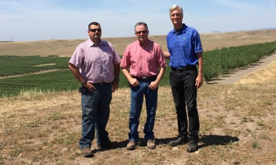 Ryon Paton, a principal with Trinitas Partners, right, with the managers of the firm's almond operation, Dan Kaiser, left, and Dave Germano, center.