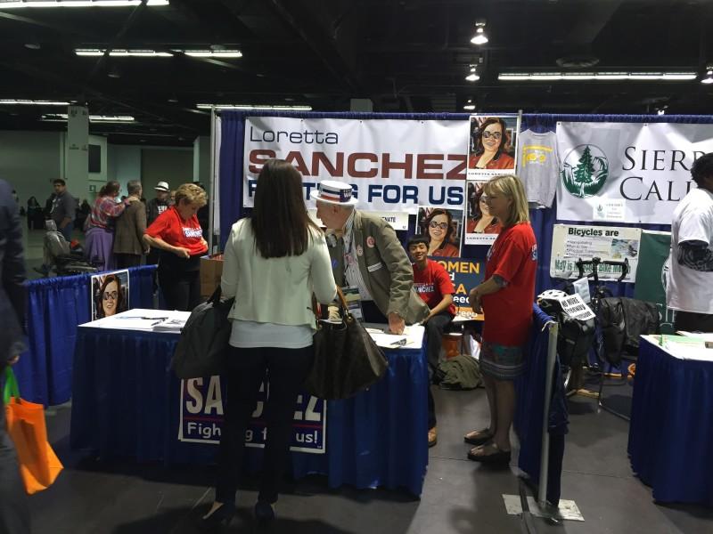 Supporters of Congresswoman Loretta Sanchez were busy at the California Democratic Convention.
