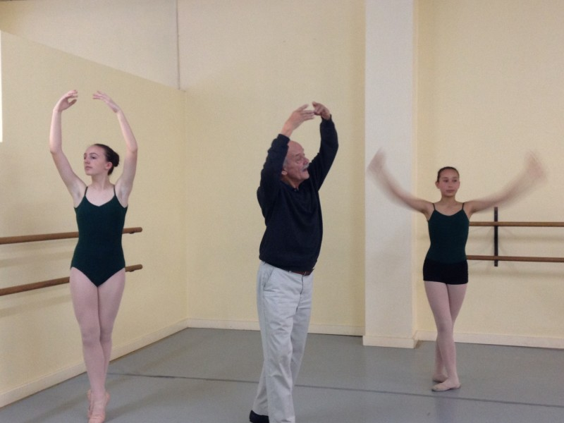 Carvajal rehearses with his ballet students at a dance studio in San Leandro.
