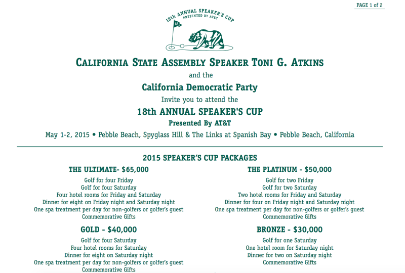 Invitation sent out earlier this month for AT&T's annual fundraiser for Assembly Democrats.