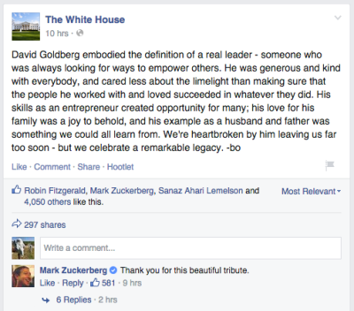 Screenshot of President Obama's tribute to David Goldberg, the Silicon Valley executive who died in a gym accident while visiting Mexico.