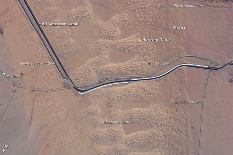 NASA image showing about 10 miles of the All-American Canal as it wends its way from Arizona into Southern California's Imperial Valley.