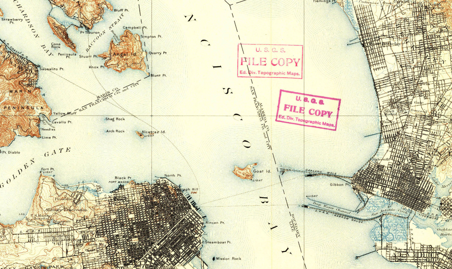 One of the first USGS topographical maps of the Bay Area. Historical Topographic Map Collection