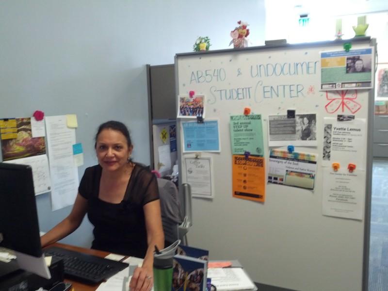 UC Davis is also home to an undocumented student center. Pictured here is office coordinator Aurora Garcia.