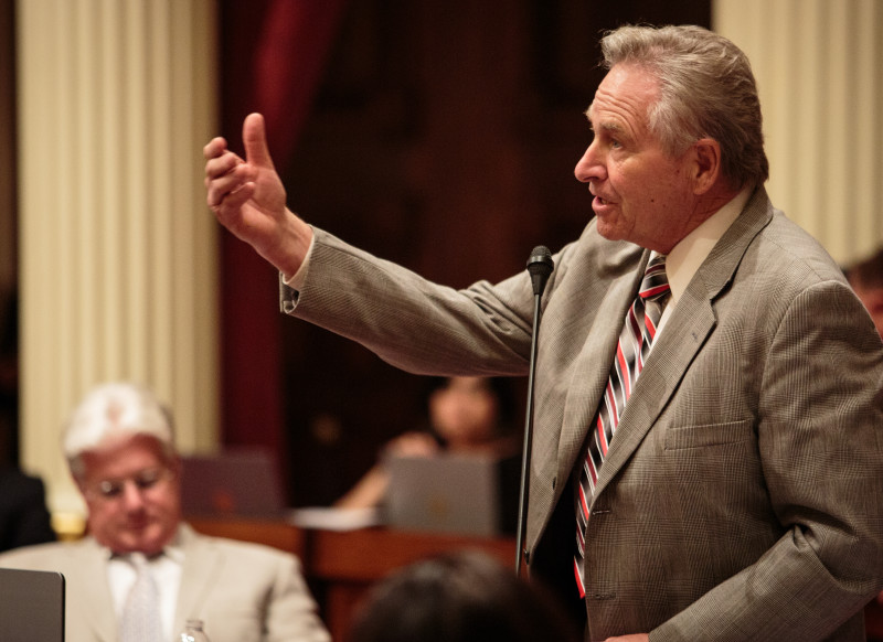 State Senator Jim Nielsen, R-Gerber, speaks on the budget in the Senate Chambers at the State Capitol in Sacramento, California on June 15, 2015.