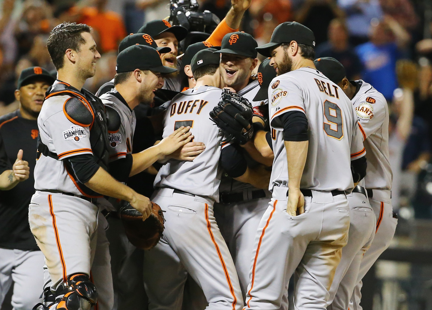 Chris Heston San Francisco Giants celebrates his no hitter with teamates against the New York Mets  after their game at Citi Field on June 9, 2015 (Al Bello/Getty)