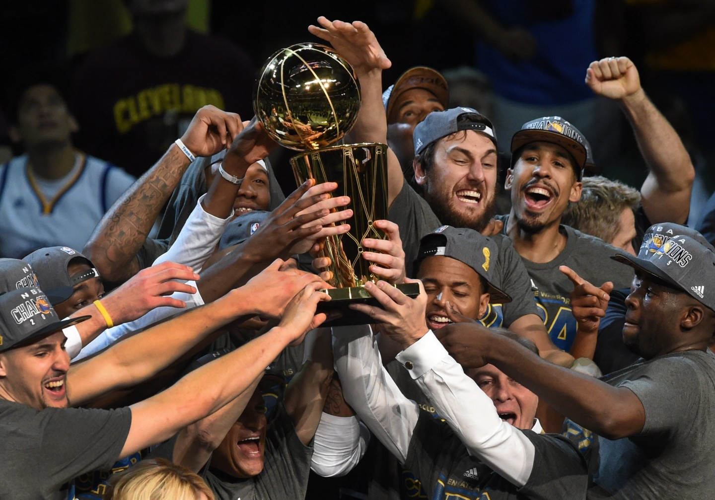 The Golden State Warriors celebrate winning the 2015 NBA Finals on June 16, 2015 at the Quicken Loans Arena in Cleveland, Ohio.   (Timothy A. Clary/AFP/Getty)