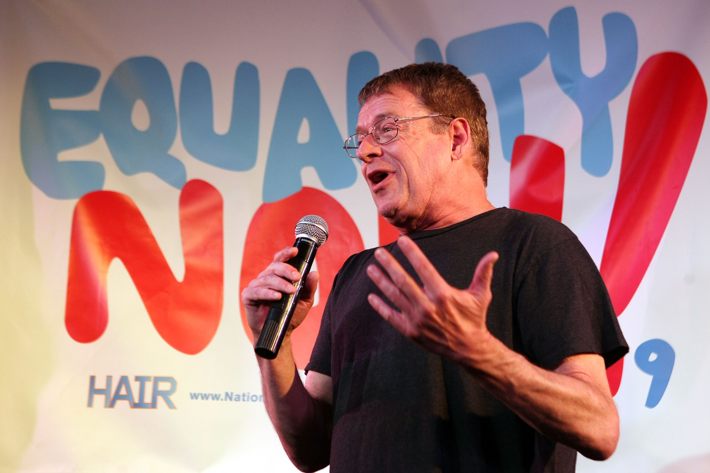 "Human rights activist Cleve Jones speaks during the Broadway cast of ""Hair"" Be-In news conference to promote marriage equality on July 13, 2009, in Los Angeles."