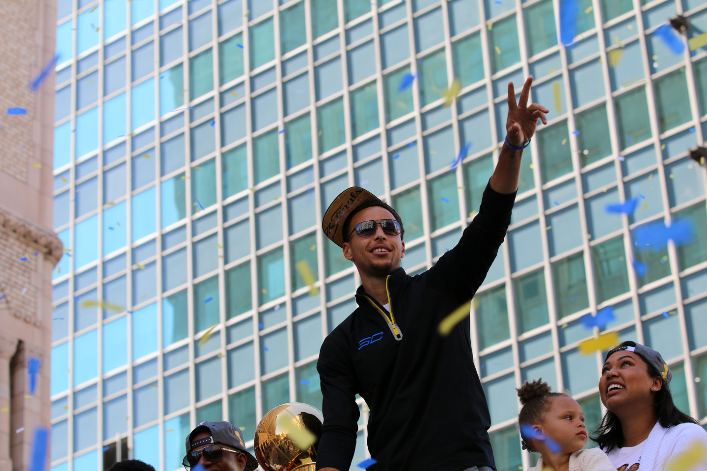 Stephen Curry celebrates during the Warriors championship parade Friday. (Adam Grossberg/KQED)