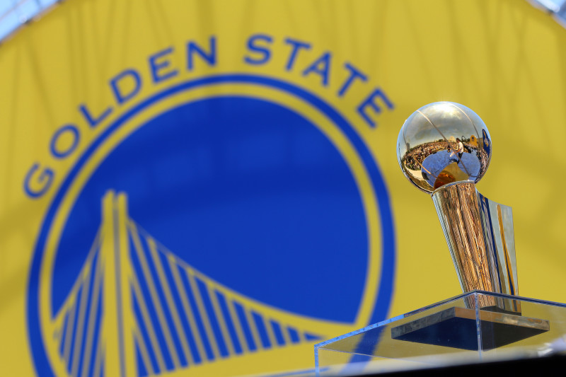 THe Warriors' new hardware: The Larry O'Brien Championship Trophy. (Adam Grossberg/KQED)