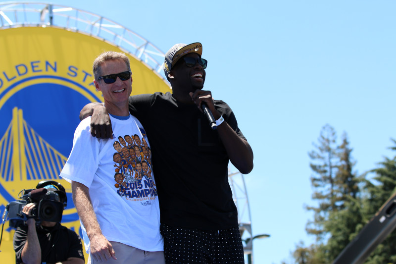 """""""He hated me when he started,"""" Draymond Green said about Warriors head coach Steve Kerr, before thanking him for making him better. (Adam Grossberg/KQED)"""