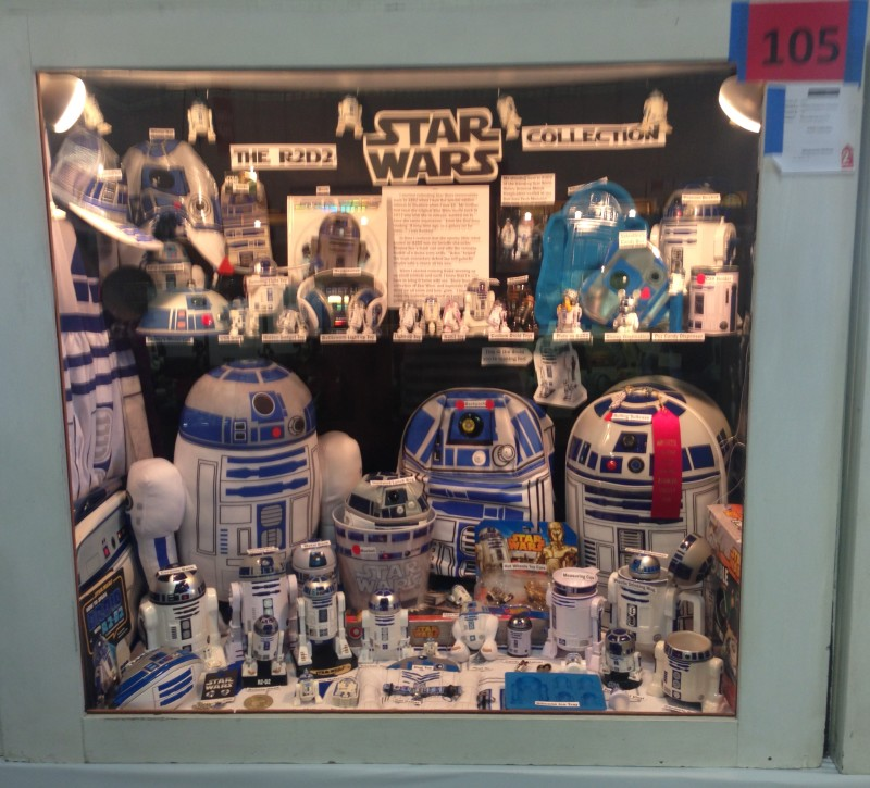 This display case features a collection of all things R2-D2