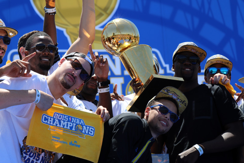The Golden State Warriors are NBA Champ. (Adam Grossberg/KQED).