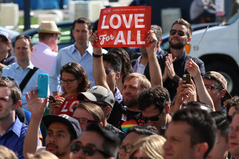 Hundreds of people came out at San Francisco City Hall after the Supreme Court announced its decision overturning same-sex marriage bans.