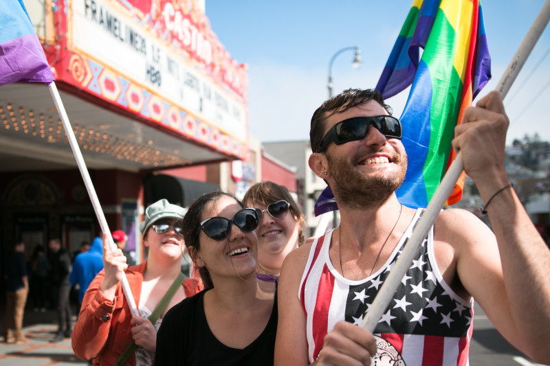 Tourists joined locals in celebrating the Supreme Court's decision (Jeremy Raff/KQED).