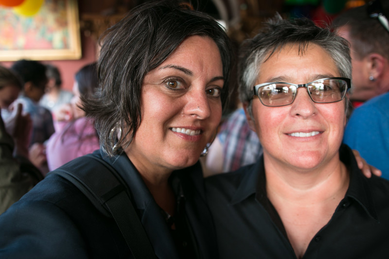 Lisa Cacari Stone and Roberta Duran are visiting from New Mexico (Jeremy Raff/KQED).