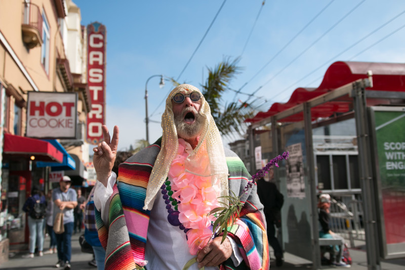 Walter Gaylor had an ecstatic message for everyone within earshot (Jeremy Raff/KQED).