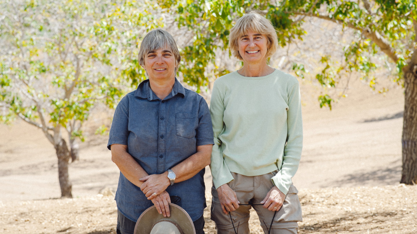 Jutta Thoerner (L) and her partner, Cynthia Douglas. own Manzanita Manor Organics. Cynthia Wood/KQED