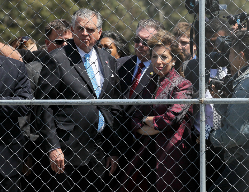 In this photo from May of 2011, federal Transportation Secretary Ray LaHood tours the site of the PG&E San Bruno pipeline explosion with Congressional Representative Jackie Speier.
