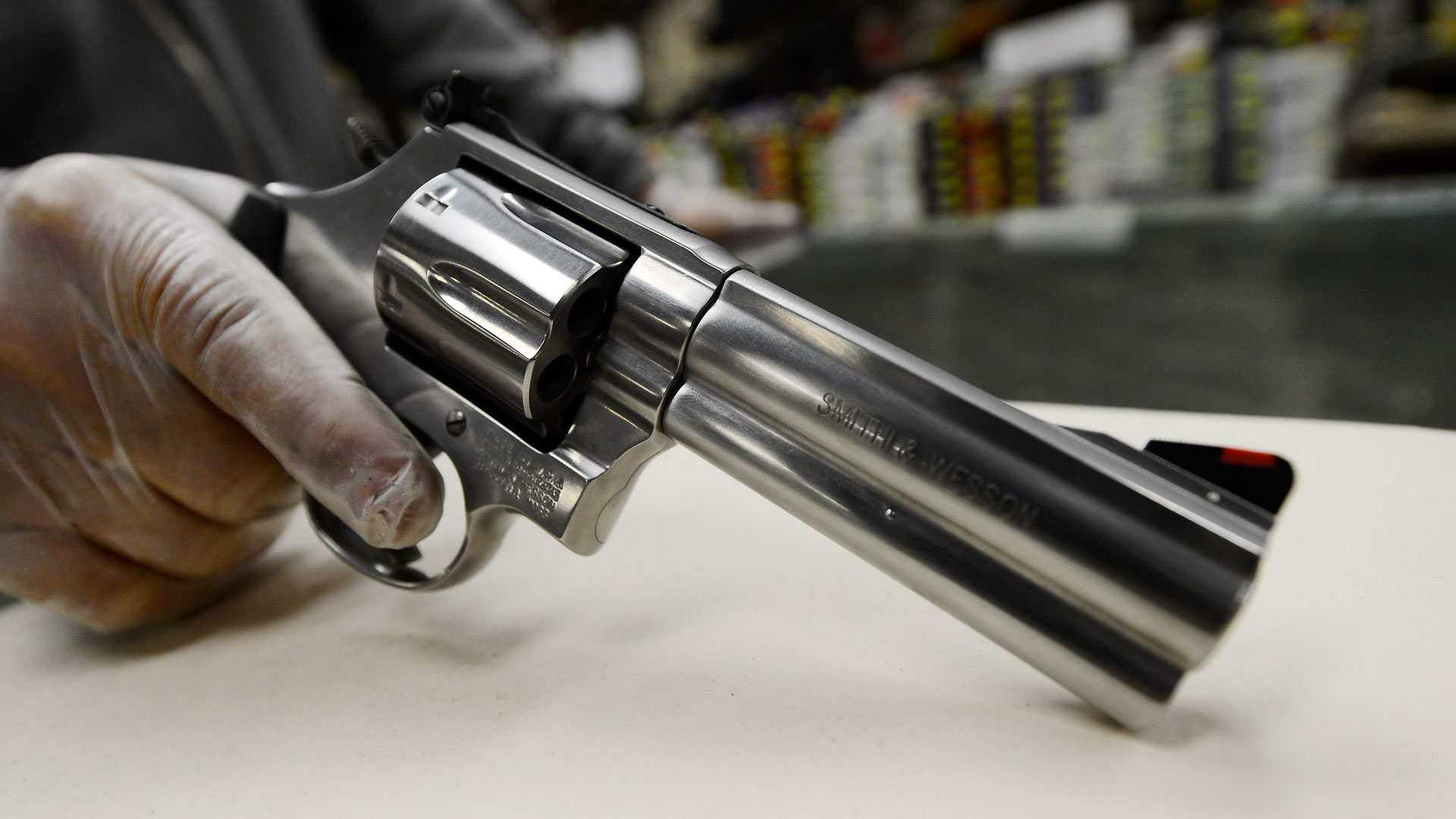 A .357 magnum revolver is displayed for customers at a gun club in Los Angeles.