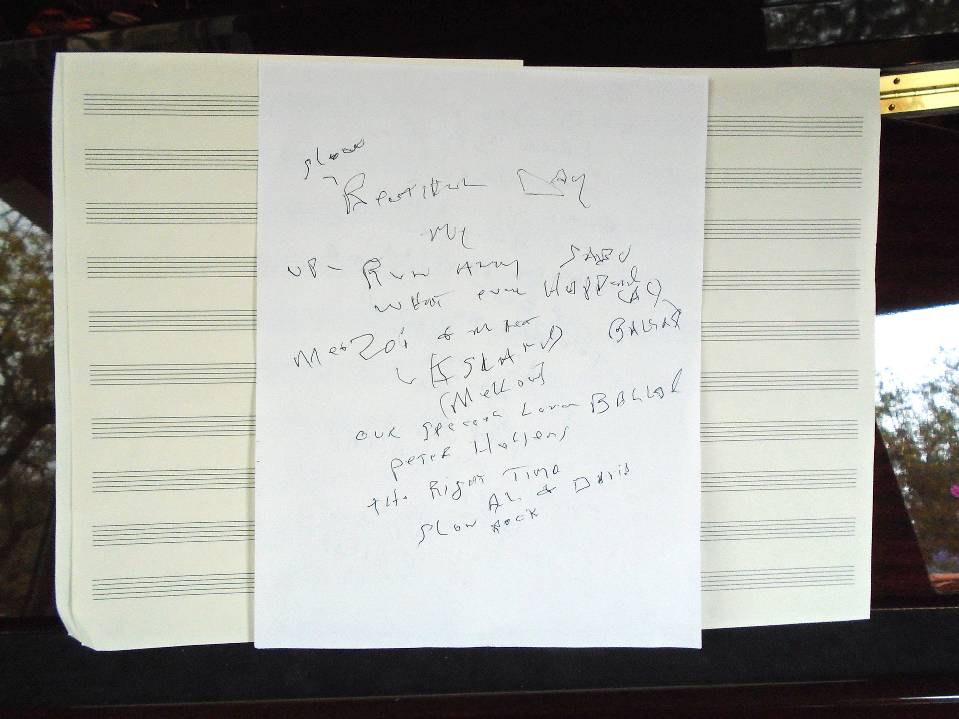 A set list Wilson hand wrote for his upcoming tour.
