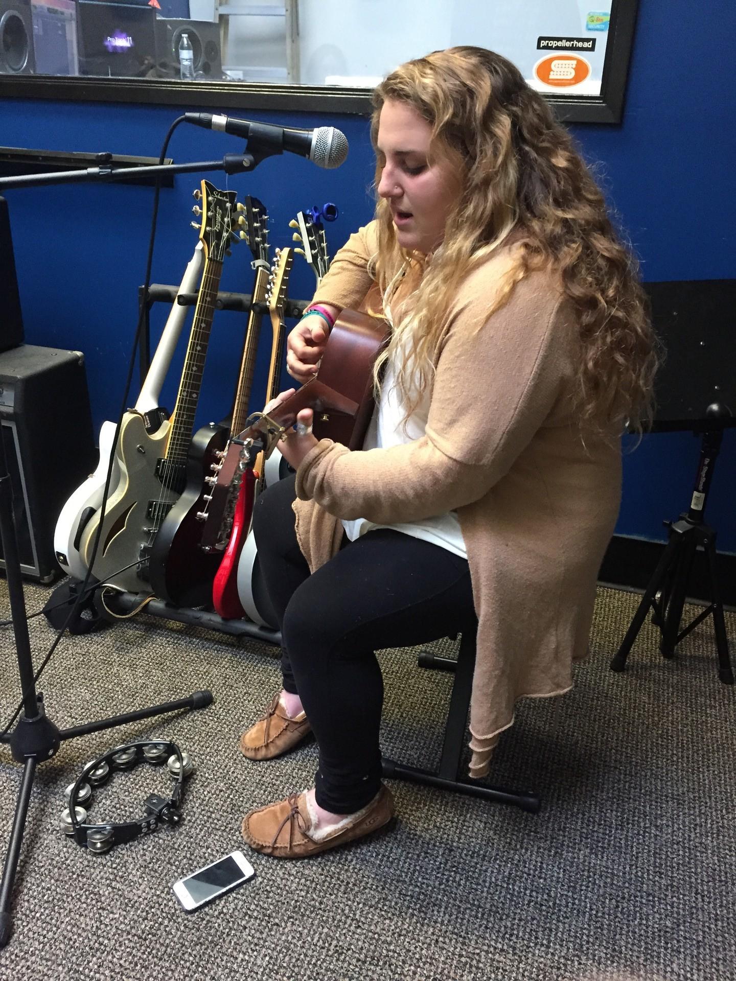 Brandi Rose Lentini plays and sings at Santa Barbara's Eastside Notes for Notes studio.