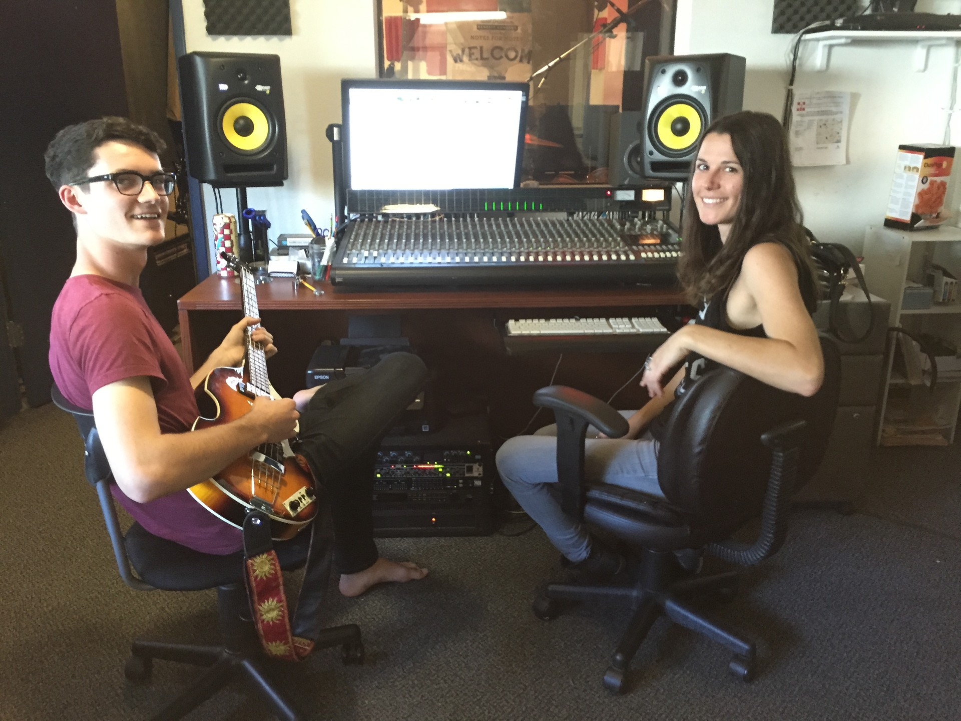 Maxton Schulte, left, and Bre Wright in the control room at Santa Barbara's Westside Notes for Notes studio.