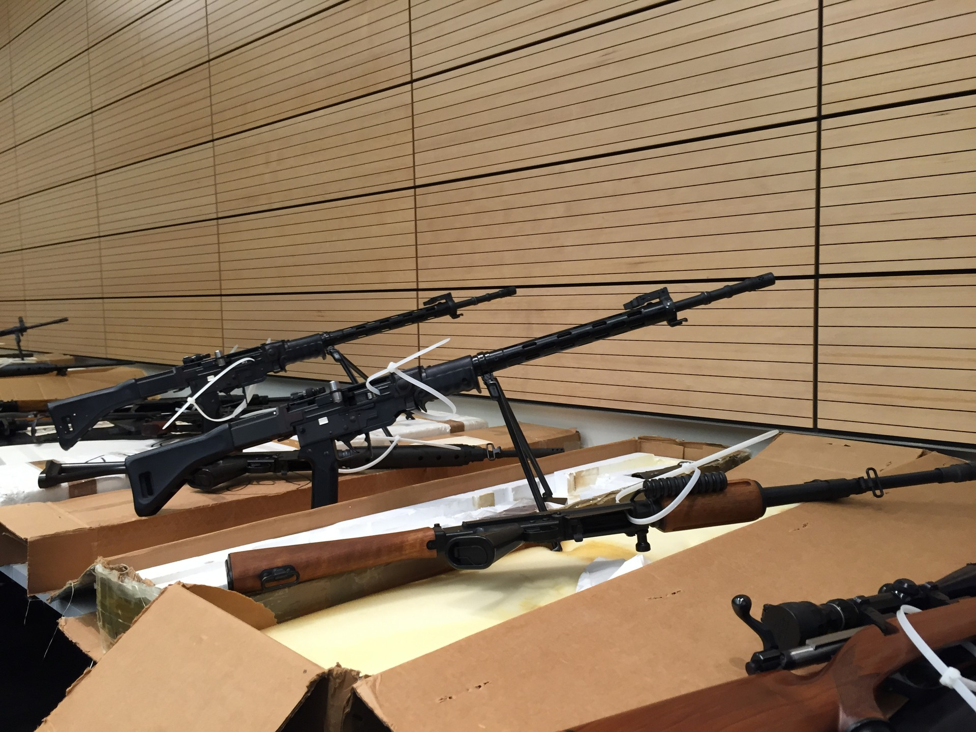 Assault rifles were part of a cache of 38 firearms seized when San Francisco police served a search warrant with San Mateo SWAT officers in South San Francisco June 3.