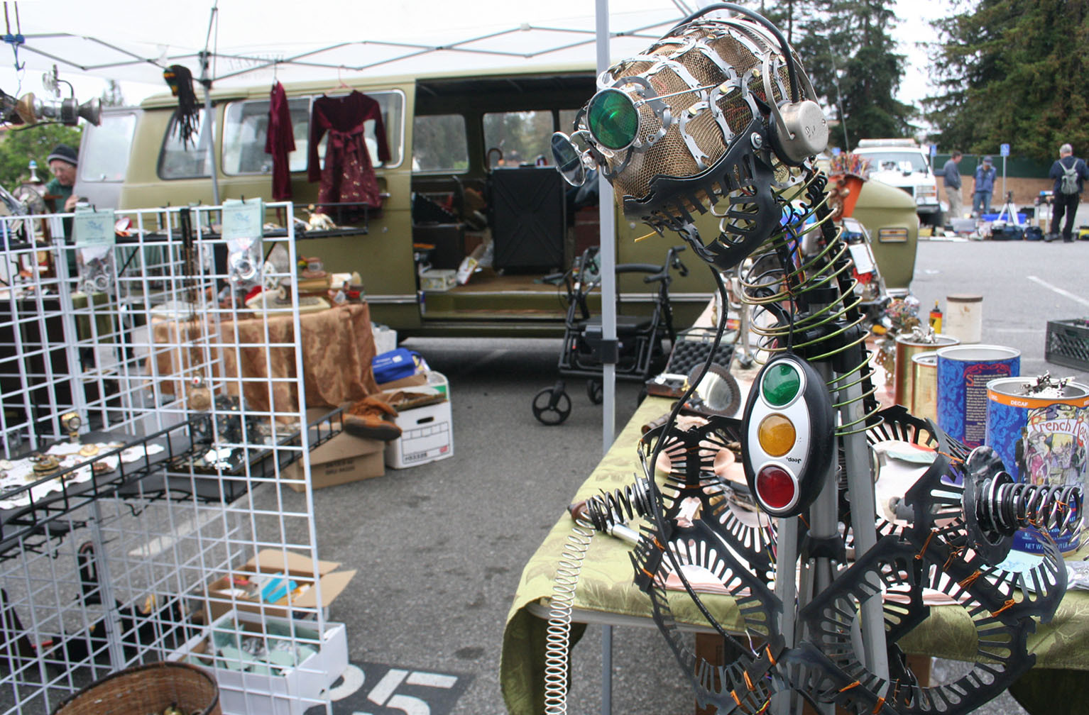 "The stand of Renee McAnally, also know as ""The Robot Lady,"" at the Electronics Flea Market."