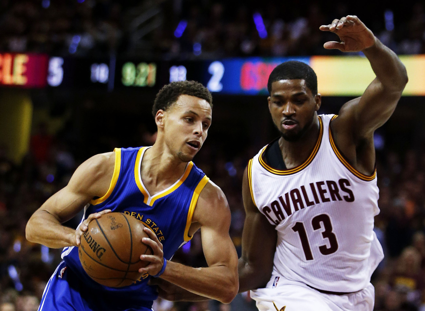 Stephen Curry #30 of the Golden State Warriors drives against Tristan Thompson #13 of the Cleveland Cavaliers in the first quarter during Game Six of the 2015 NBA Finals. (Ezra Shaw/Getty)