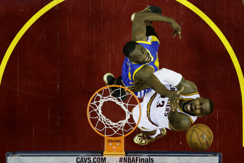 LeBron James shoots against Draymond Green in the first half during Game Six of the 2015 NBA Finals. (Tony Dejak-Pool/Getty)