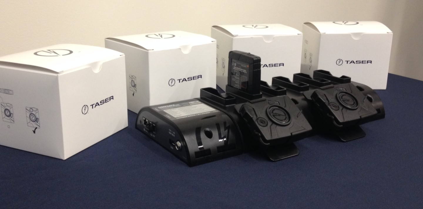 Taser Axon body-worn cameras purchased with $250,000 from a federal grant were on display at an April 30 press conference held by San Francisco Mayor Ed Lee and Police Chief Greg Suhr.