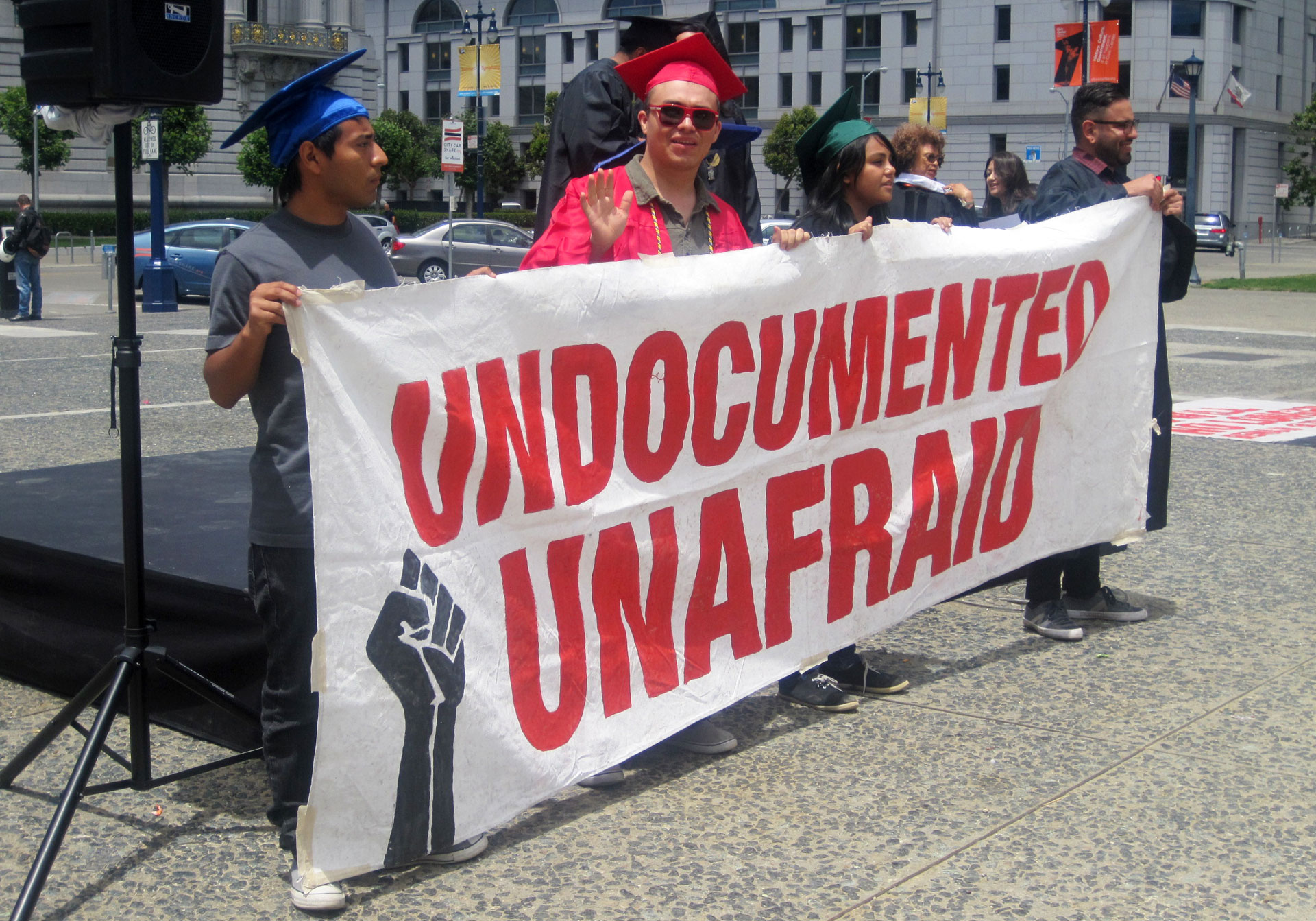 Undocumented students hold a mock graduation in San Francisco in 2012.