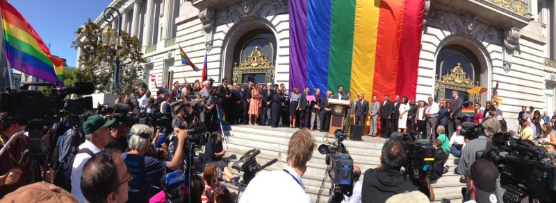 Elected officials spoke at a press conference outside San Francisco City Hall.