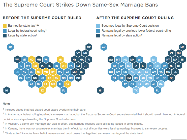 Same-sex marriage decision map.