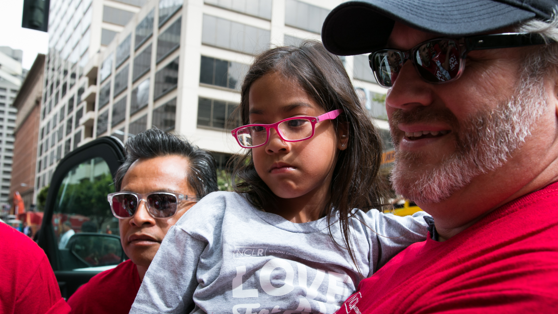 Johno Espejo and Matthew Mansell with their daughter, Elyse. They lived in Tennessee when they became plaintiffs in the Supreme Court case. Mansell says they're relieved to be back in California. (Jeremy Raff/KQED).