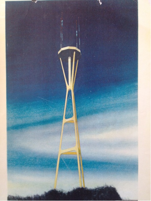 Early design renderings of Sutro Tower included a restaurant at the top.