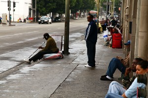 "Renee revisits Skid Row after nine years of sobriety. ""I don't belong here any more,"" she said when she walked back to where I was standing. (Mimi Chakarova/Center for Investigative Reporting)"
