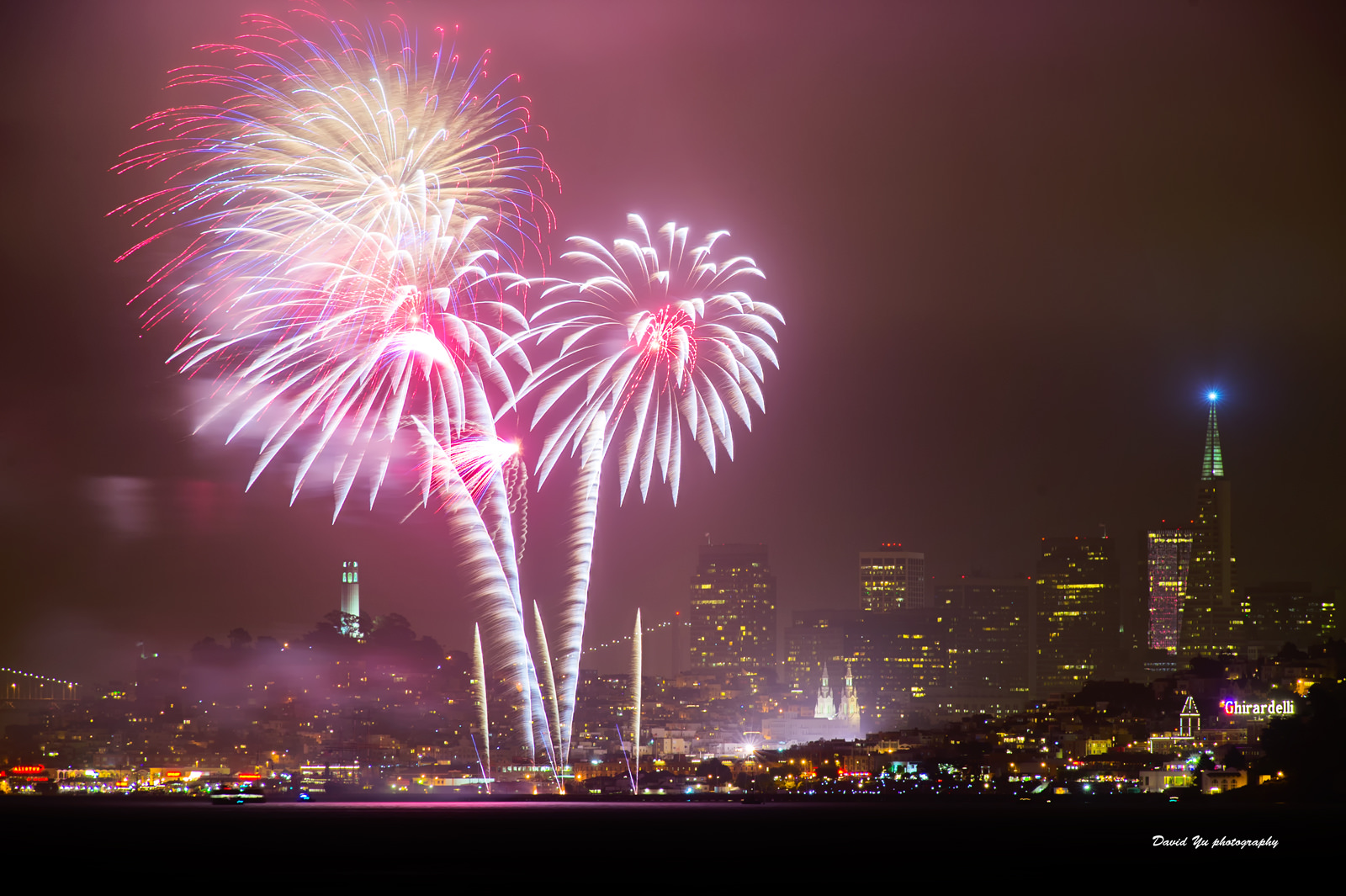 Fireworks over San Francisco in 2015.