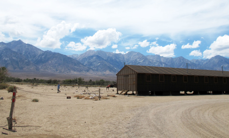 A reconstructed barrack at the Manzanar National Historic Site, west of Death Valley.