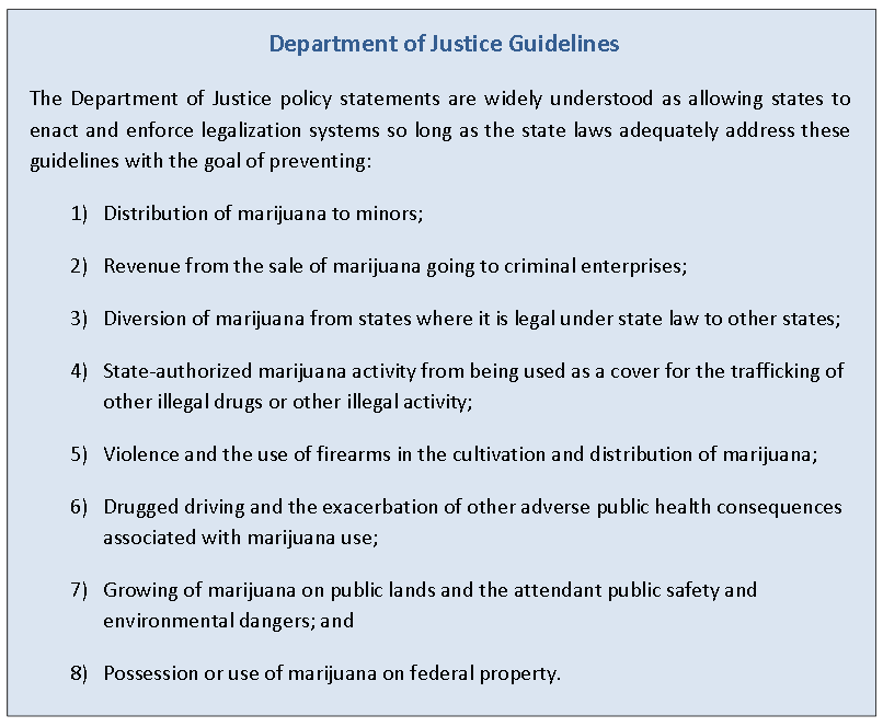 """Federal law is one aspect of recreational marijuana legalization the Blue Ribbon Commission report attempts to navigate. """"The clear message from the current administration is that states will not be sanctioned for legalizing recreational or medical cannabis use if they work within these guidelines,"""" the report says."""