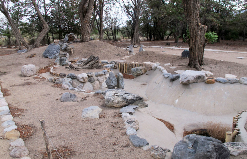 In previous years, volunteers unearthed this Japanese garden next to a mess hall at Manzanar. Japanese-Americans held at the camp during World War II built basements and gardens to make the remote, dusty barracks more livable.