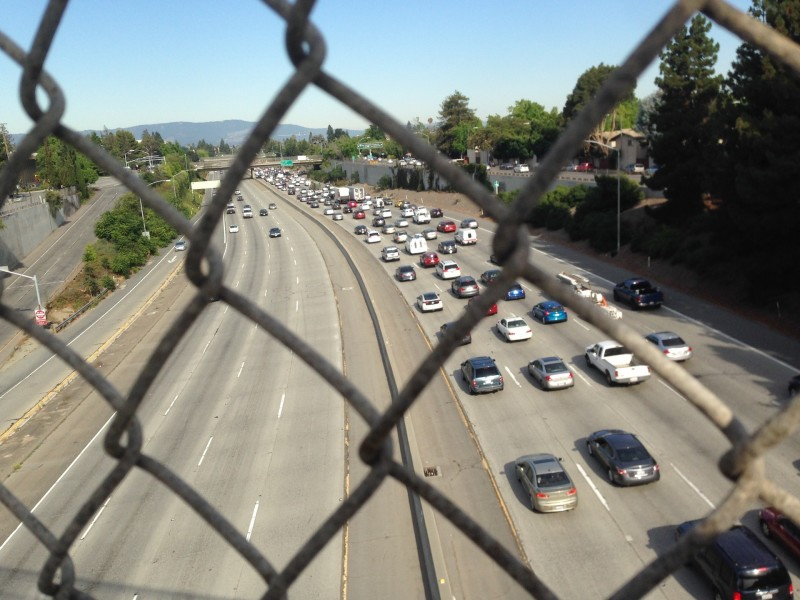 From an overpass above 280 at 8:45 a.m. on a weekday, you can see that San Jose is a net exporter of employees.